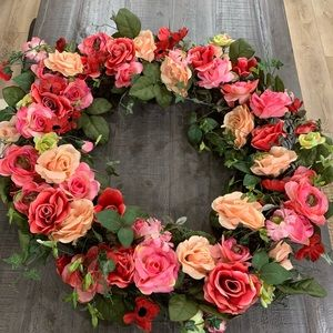 "32"" mixed rose wreath"